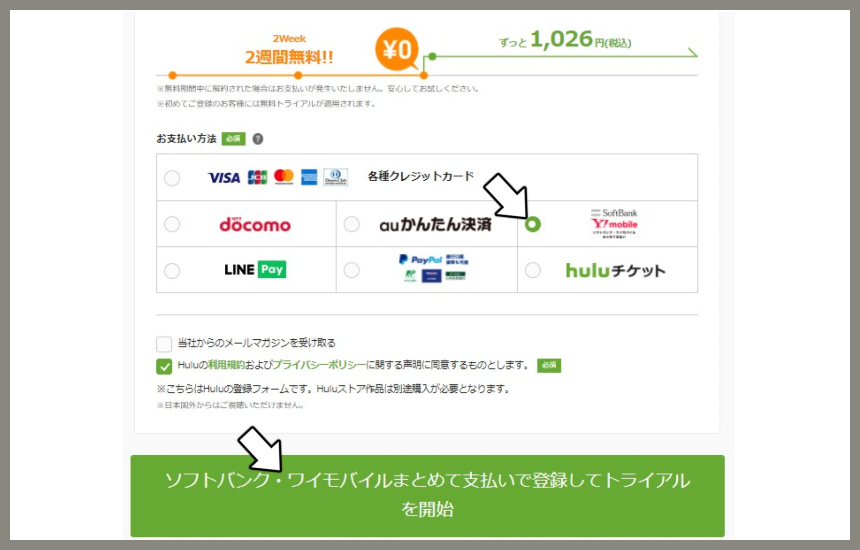 huluの支払い方法の選択