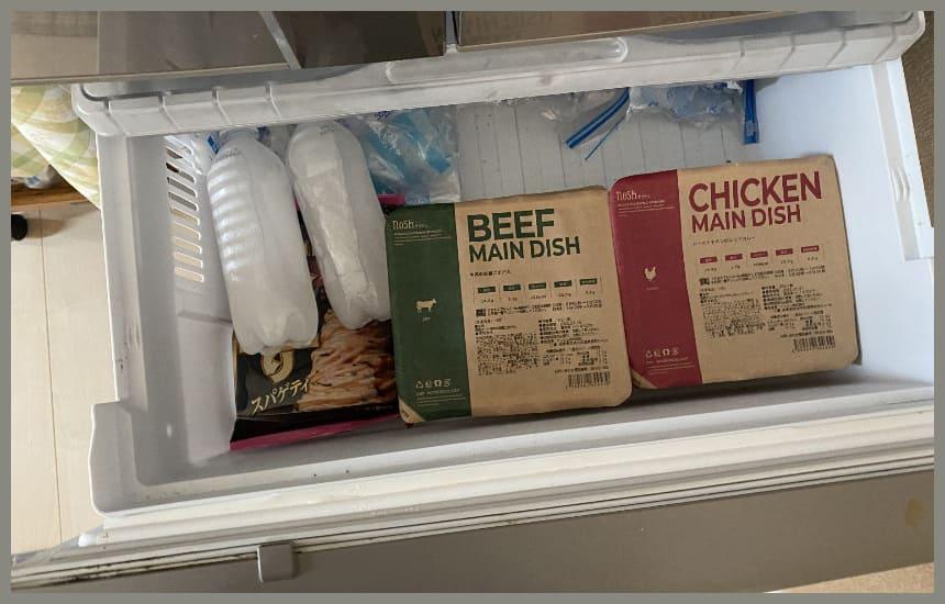 ナッシュの容器を冷凍庫にわけていれている