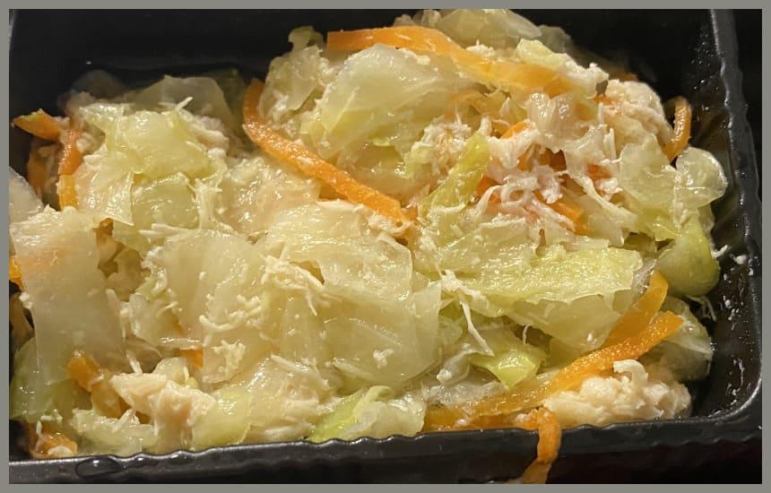 まごころケア食の赤魚の塩こうじ焼き弁当の中に入っているキャベツ