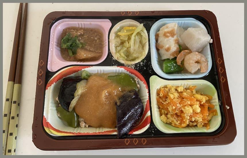 食宅便の3食目の豚肉と茄子の味噌炒めの写真
