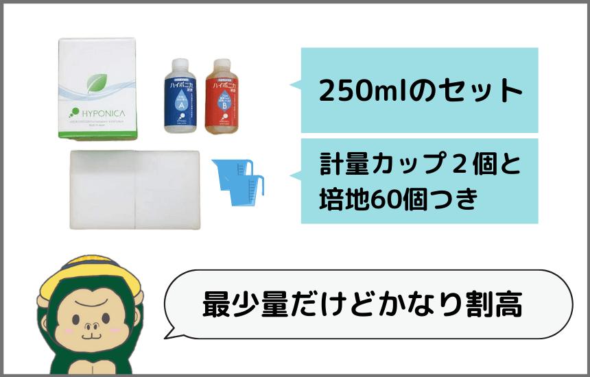 ハイポニカ液体肥料の250mlセットは割高