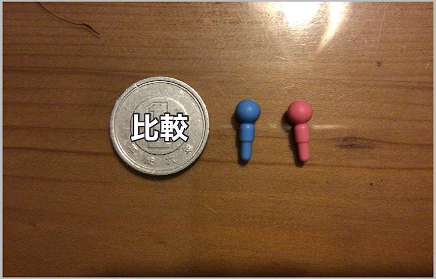 1円玉と人物ピン