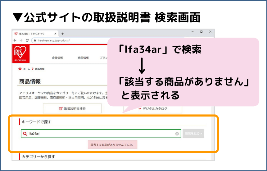lfa34arの取扱説明書は公式サイトで公開なし