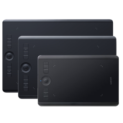 wacom intuos proの3サイズをまとめた画像
