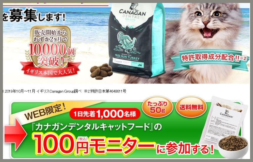 カナガンデンタルキャットフードの100円モニターの申し込みページ