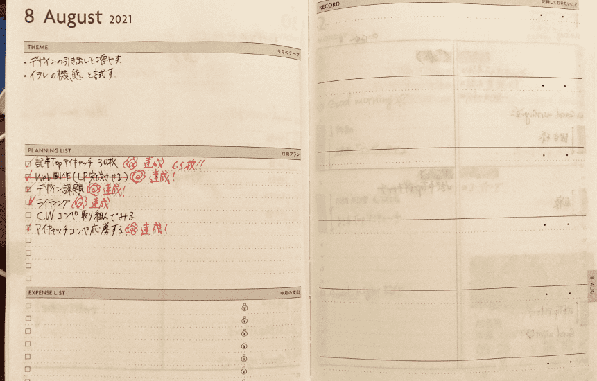 edit手帳月の目標ページ、私の使い方